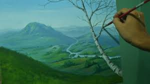 acrylic landscape painting tutorial overlooking view with mountains valley river and a tree you