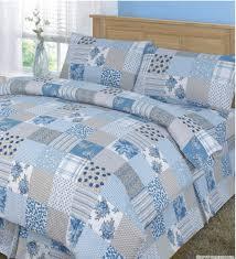 patchwork quilt cover set blue kingsize