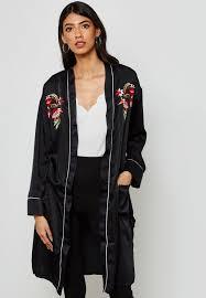 embroidered satin longline kimono