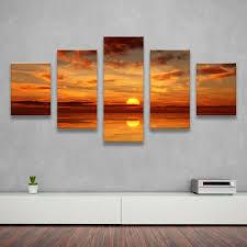 5pcs home decor canvas wall art decor painting sundown oceans wall picture canvas art print from canvas prints home decor photos