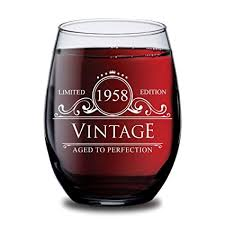 1958 60th birthday gifts for women and men wine gl circle vine anniversary gift ideas