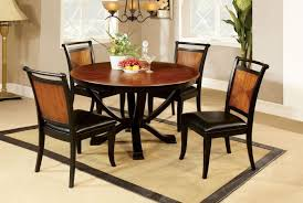 furniture of america cm3034rt cm3034sc salida transitional 5 pieces acacia black 48 inch round dining table set