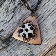 custom made enamel pendant borosilicate lampwork necklace enameled jewelry black white