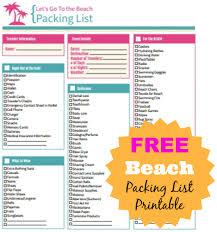 beach packing list printable