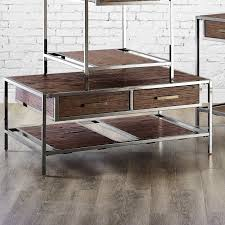 Windham Solid Birch Wood - Iron Contemporary Coffee Table Rustic - Industrial  Style