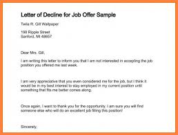 Email Accepting A Job Offer Enchanting Formal Letter Declining Job Offer Accepting A Email Sample Resume