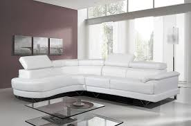 cosmo white leather corner sofa featuring glass coffee table
