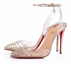 Designer Pvc Heels Christian Louboutin Gold Spikoo 100mm Specchio Clear Pvc Spiked Sandals Heels B840 Pumps Size Eu 37 Approx Us 7 Regular M B 33 Off Retail