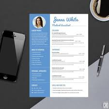 blue modern resume template minimal professional resume template for word modern resume etsy