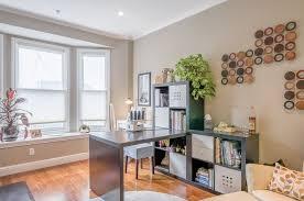 contemporary home office with lekman box crown molding kallax shelving unit hardwood floors box san francisco office