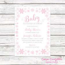 Snowflake Baby Shower Invitations Baby Its Cold Outside Baby Shower Invitation Girl Pink Snowflake