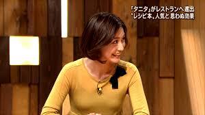 からし色のタイトな衣装を着ている小川彩佳のセクシーな画像