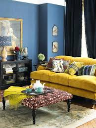 Colorful Living Room Mesmerizing Interior Design Ideas Living Room Blue Wall Color Yellow Sofa Home
