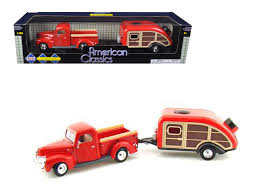 1940 Ford Pickup Truck Red with Tear Drop Trailer 1/24 Diecast Model ...