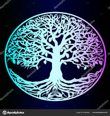 Neon Tree Life Vector Beautiful Detailed Sketch Tattoo Blue Gradient