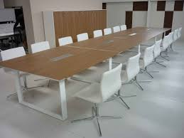 Acrylic Office Furniture Funiture Rectangle Wooden Top Table With White Metal Leg And