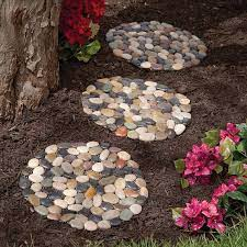 round pebble stepping stones for garden