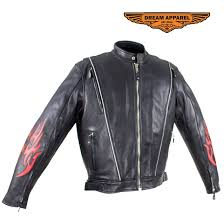 mens leather motorcycle racer jacket with flames