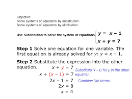 objective solve systems of equations by substitution