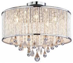 luxury 5 light polished chrome crystal drum shade flush mount chandelier for ceiling lighting design