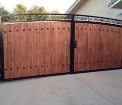 vinyl fence with metal gate. Double Wood Gate With Metal Frame Vinyl Fence A
