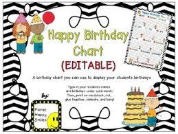 Birthday Chart In A Chevron B W Print Editable