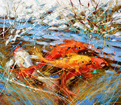 contemporary art original fineart wall art modern chinese carps oil acrylic painting with palette knife by