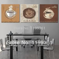3 piece free modern wall painting large kitchen decor coffee cup home decoration art