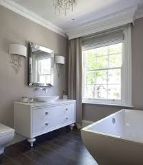 taupe walls and curtains in a modern bathroom