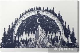 Obraz Horský Starožitný Kompas A Tetování Větrných Růží Na Plátně