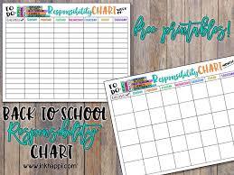 Make Your Own Responsibility Chart Printable Back To School Responsibility Chart