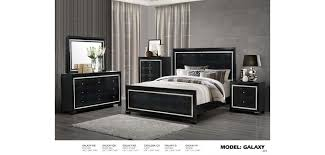 Galaxy Croc Black Leather Contemporary Bedroom Set