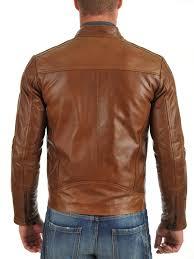 men s brown biker jacket with front collar