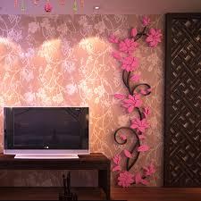 hot 3d mirror wall stickers e flower vase acrylic decal home diy art decor
