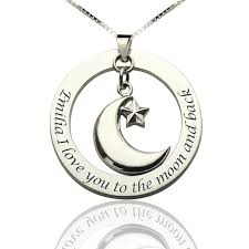 i love you to the moon and back moon start charm pendant amazingnecklace com
