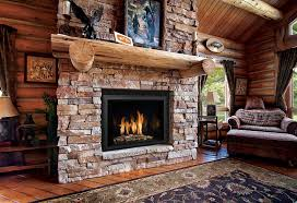 Decorations:Rustic Stone Veneer Fireplace For Living Room Combine With  Wooden Log Mantel Also Cozy