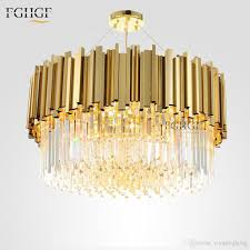 new arrival luxury crystal chandelier light modern lighting for living dinning room round golden color hanging led lights crystal chandeliers crystal