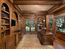 traditional office decor. Rustic Office Decor Home Traditional With Dark Wood Floor Woodwork Brown Roman Shades