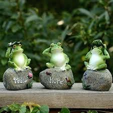 frog yard decor cute frog decorative stone garden statues and ornaments outdoor lawn yard cartoon animal