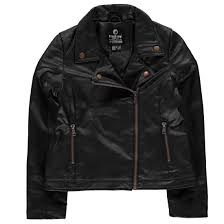 details about firetrap kate pu biker jacket youngster girls leather coat top full length