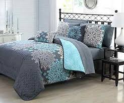 Impressive Allison Bluegrey Twin Quilt Set Within Grey And Blue ... & Excellent 9 Pc Quilt Set Queen Bed In A Bag Blue Gray Floral Mandala  Pertaining To Grey And Blue Bedding Sets Modern Adamdwight.com