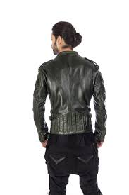 goat leather dark green designer biker jacket