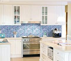 Kitchen With Glass Tile Backsplash Interesting Blue Backsplash Tile Sea Blue Glass Tile Cobalt Blue Subway Tile