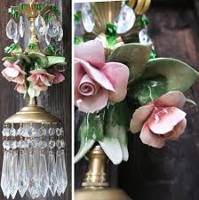 1 porcelain capodimonte pink shabby rose brass chandelier ceiling vintage lamp 1 of 12only 2 available