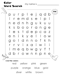 Free Printable Color Word Worksheets For Kindergarten Sight Search