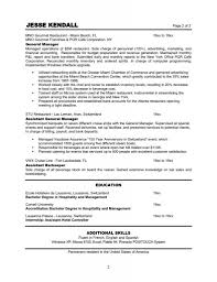 Restaurant Objective For Resume With Experience As Assistant General