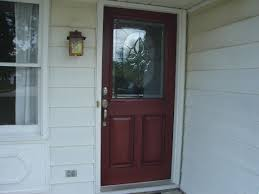 entry doors near me. red therma tru entry doors with silver handle matched white wall for exterior design ideas near me \