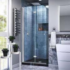aqua ultra 57 to 60 in x 58 in semi frameless hinged tub