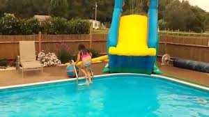more fun on crazy inflatable pool slide banzai blaster inground youtube above ground slide e44 slide