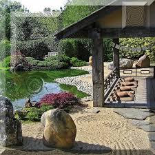 stream japanese rock garden by